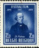 Postzegel met afbeelding Joseph Plateau naar aanleiding van het Festival Film in juni 1947 (Collectie Universiteitsarchief Gent).