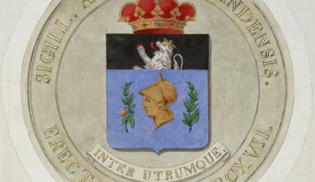 Ontwerp van Liévin Armand Marie De Bast voor zegel van de Gentse universiteit (© Nationaal Archief Den Haag).