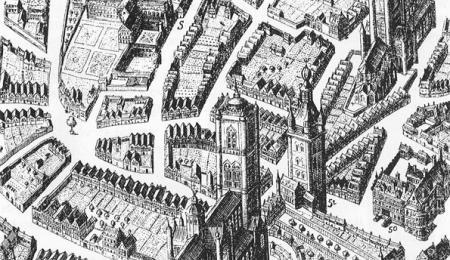 Detail van de kaart van Gent van Hondius uit 1641 met linksboven het jezuïetenklooster op de huidige universiteitssite Voldersstraat (Collectie Universiteitsarchief Gent).