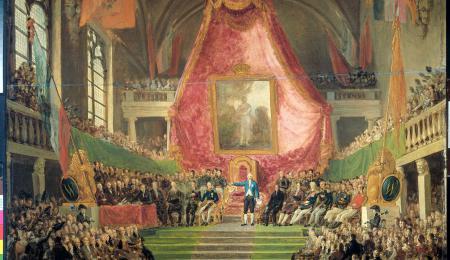 Schilderij van Mattheus Van Bree van de plechtige installatie van de Universitei
